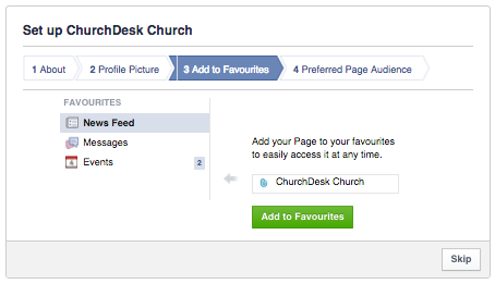 Add your Facebook page to your favorites