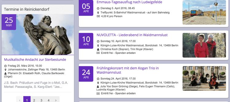 Veranstaltungen können bereits jetzt zwischen Kirchengemeinden und Kirchenkreisen, die ChurchDesk nutzen, geteilt werden. Hier ein Beispiel für eine gemeinsame Veranstaltungsansicht für den Stadtteil Berlin-Reinickendorf.
