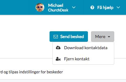 Eksporter data på en kontakt i ChurchDesk