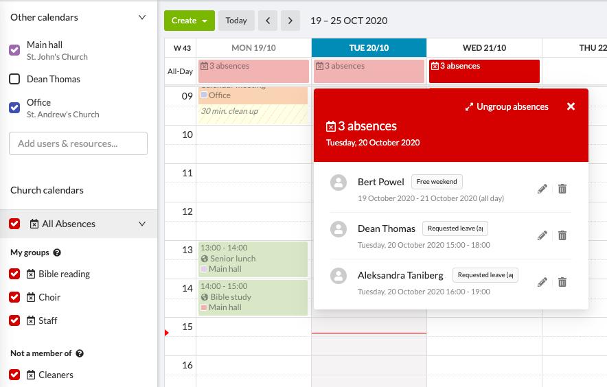 New absence calendar - grouped