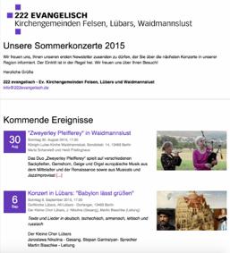 Praxisbeispiel für einen Newsletter aus den Kirchengemeinden Felsen, Lübars und Weidmannslust