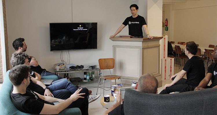 Stephane presenting at ChurchDesk