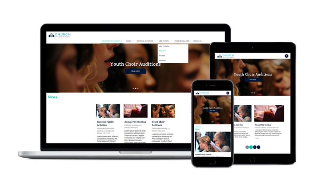 Responsive website designs for churches