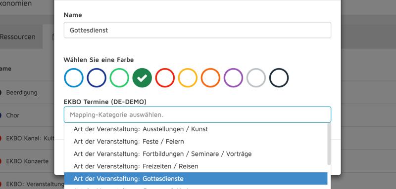 Kategorien von EKBO-Termine können nun direkt in ChurchDesk angewählt und zugewiesen werden.