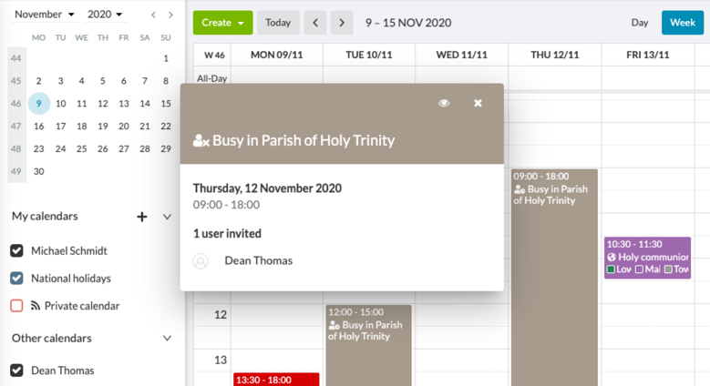 See when someone's busy in another ChurchDesk Parish