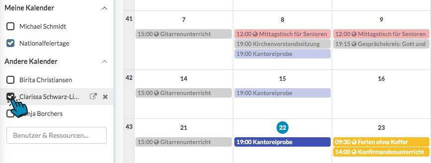 ChurchDesk Personen Kalender