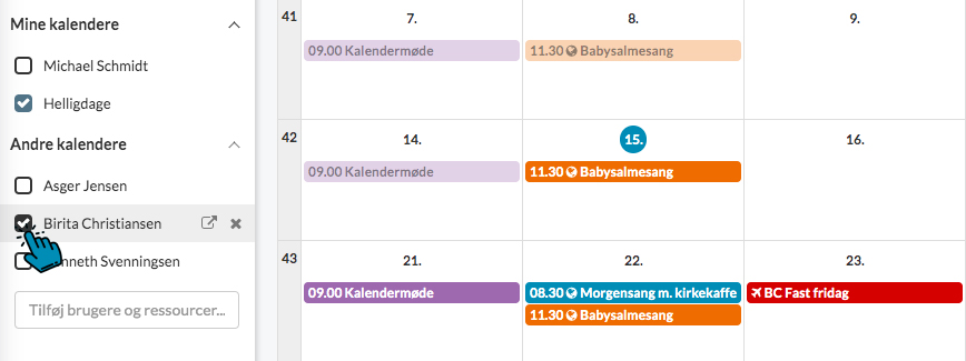 ChurchDesk Medarbejderkalender