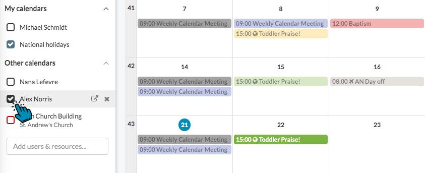 ChurchDesk User Calendar